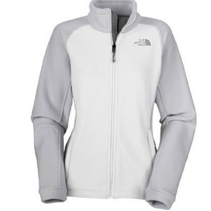 The North Face Extra Small Khumbu Jacket White  Grey Fleece Soft and Cozy